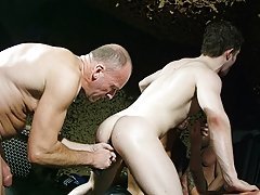Sure it's crude and foul sounding � but its such a grubby and descriptive piece of slang and it surmises this filthy gang bang scene with Ashley