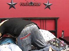 Twink kissing thumb and twink jacks off and shows feet