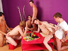 Group male physical exam and gay chat groups at Crazy Party Boys