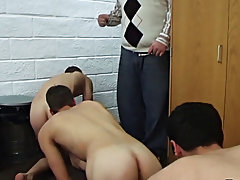These pledges are planning a prank on one of their brothers, and everything heads pretty well to plan, until they get caught wanking off on his door h