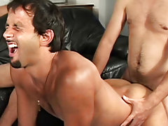 "These 3 men really have a fun engulfing and playing around with each other in this week's clip of ""His First Huge Cock guys hunky"