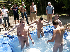these poor pledges had to play blind folded in this hole in the ground filled with water sex group rhode island gay