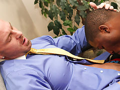 He leaves the new guy laying on the floor to finish himself off free interracial porn gay at My Gay Boss