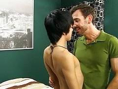 Kyler is as vocal as he's ever been, squealing and yelping as he slowly impales himself on Bryan's cock.