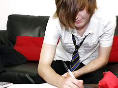 Hot emo boy Tyler Archers gives us his full attention in his school uniform tiny teen boys at Homo EMO!