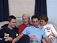 Danny, John, Ricky and Will rip up each other's clothes open, then pair off and suck down loads of cock gay group