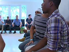 Groups of gay men having sex and group male masterbation at Sausage Party