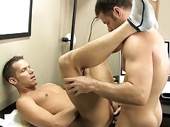 Shane ends up stretched out across the desk, jerking out a load before attaching his face hole to Tristan's sensitive nipp to finish the chap off