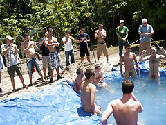 There is nothing like a nice summer time splash, especially when the pool is man made and ghetto rigged as fuck gay group shower fucking