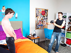 Two teen twinks come up with themselves in a bedroom - one decides to get his camera outside and the other poses on his bed young gay boys first sexua