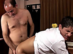 The future employee then falls on his knees to blow this majestic pork sword tyhis first gay sex