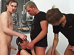 It looks like this cute keen gay sprout can't choose between three delicious cocks lined up in front of him and ready to be sucked good group mal