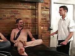 Sam and Johnny are visited by a christian missionary spreading the word of god men shirtless group