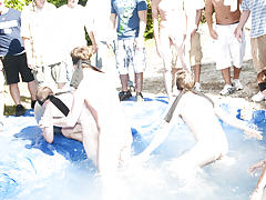 I mean its not embarrassing enough playing naked in a nasty fake pool gay group anal sex