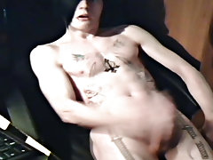 Hot emo lad Josh Osbourne jerks off on his bedroom floor, showing off his hawt body, large rod and epic tattoos young hairy boys - rocker boy friends!