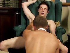 The 2 guys kiss and disrobe but leave their ties on as they swap blowjobs