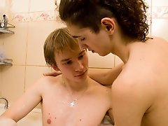 Jacob and Timmy fucking nice young guys making sex first time in bath nude and wet men at Boys Fox