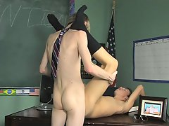 Damien Telrue and Dustin Revees are very bored in custody gays first time sex at Teach Twinks