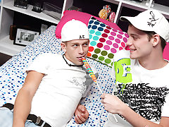 He goes to his new friend Kayden Daniels' house where lollipop sucking turns into cock sucking free gay twink thumbnai