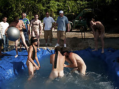 I mean its not embarrassing enough playing naked in a nasty fake pool male male tickling groups