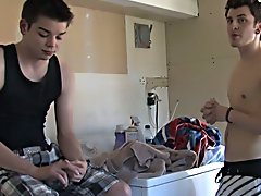 Since Cameron was on the washer, Tucker just reaches up and begins to undress and play with his cock free gay twink monster coc at Broke College Boys!