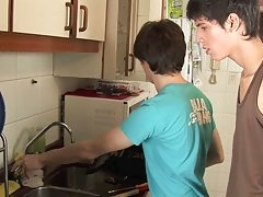 Twinks fucking at a kitchen very well first time man on man sex at Julian 18