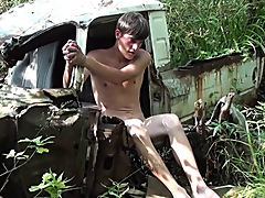Bound and Waxed Friend gay fucking outdoors