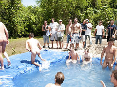 There is nothing like a nice summer time splash, especially when the pool is man made and ghetto rigged as fuck gay group handjobs