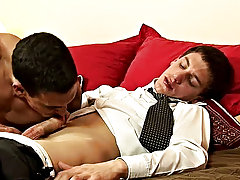 He whipped his young dick out of his dress pants as right away as he laid down, licking it up and down like a lollipop before feeding the stripling hi