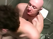 Jake was happy to oblige, and slurped on his young cock and tight butthole to brief it for the unavoidable pounding on the toilet gay hunks hardcore
