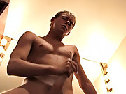Jerking his dick harder and harder, faster with every minute, until he blows a huge load all over his mirror, after watching him pleasure himself his