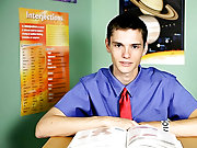 Adam Scott is a fun and frisky twink gay twink gags on huge cock at Teach Twinks